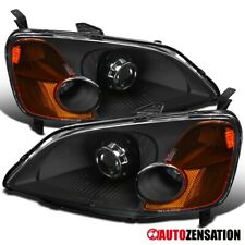 Fits 2001-2003 Honda Civic Black Clear Retrofit Style Projector Headlights Lamps