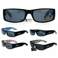 Locs Bandana Print Arm Mad Dog Narrow Rectangular Cholo Gangster Sunglasses
