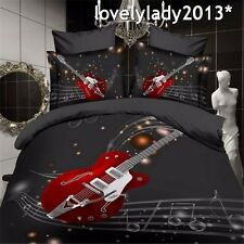 Electric Guitar Queen Size Bed Quilt/Doona/Duvet Cover Set 100% Polyester 4PCS