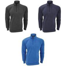 Cotton Blend Zip Neck Fleece Tops Hoodies & Sweats for Men