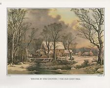 "1972 Vintage Currier & Ives ""WINTER IN THE COUNTRY"" MILL Color Print Lithograph"