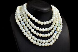 1394 Cts Earth Mined 5 Strand Moonstone Round Shape Beads Necklace JK 33E295