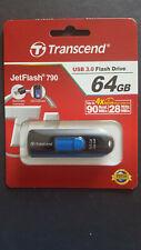 Transcend 64GB JetFlash 790 USB 3.0 Flash Drive-Black, Blue
