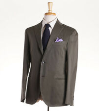 NWT $1530 BOGLIOLI Olive Green Stretch Twill Cotton Suit US 44 R 'K Jacket'
