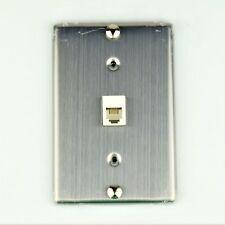 "Modular Telephone Jack ""METAL"" Wall Phone Plate Surface Mount 4P6C UL Listed"