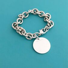 Tiffany & Co Silver Round Tag Charm Bracelet Blank Perfect For Engraving