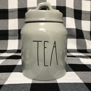 Rae Dunn Small Tea Gray Canister Farmhouse LL Kitchen Storage