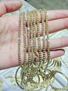 """10k Yellow Gold Tennis Chain Necklace 24"""" 4mm Diamond Cuts NEW DESIGN, REAL GOLD"""