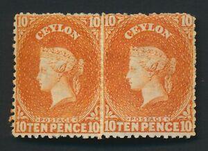 CEYLON STAMPS 1867 QV 10d ORANGE PAIR, MINT OG, SG #70c, MAGNIFICENT