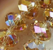 Diy Jewelry Faceted 100pcs 4*6mm Rondelle glass Crystal Beads Gold champagne AB