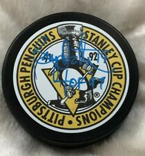 Bryan Trottier Pittsburgh Penguins Signed 91 92 Stanley Cup Champ Puck Hof Proof