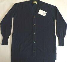 "Glen Oak V Neck 2 ply pure cashmere Tunic long tall Cardigan 40"" Dark Blue"