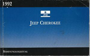 CHRYSLER JEEP CHEROKEE Betriebsanleitung 1992 Bedienungsanleitung Handbuch BA