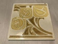 Vintage Arts & Crafts, Art Pottery Tile, Yellow/Tan 6x6x.25