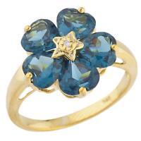 14Kt Yellow Gold Plated London Blue Topaz & Diamond Heart Ring