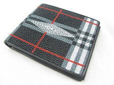 Genuine Black Stingray Skin Leather Mens Bi-Fold Card Wallet + FREE SHIPPING