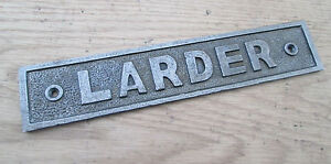 VINTAGE VICTORIAN OLD STYLE LARDER DOOR SIGN NOTICE PLATE PLAQUE