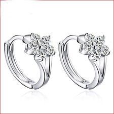 New Fashion Ladies 925 Solid sterling Silver Zircon snowflake Ear stud Earrings