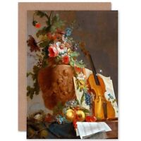 Painting Still Life Bachelier Flowers Violin Blank Greeting Card With Envelope