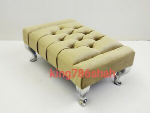 FOOT REST POUFFE FOOT STOOL QUEEN  LEGS BRITISH MADE  IN PLUSH FEBRIC