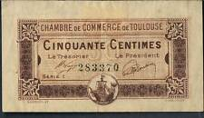 LA FRANCE JOURNAL local argent Chambre de Commerce de TOULOUSE 50 CENTIMES 1920 GVF