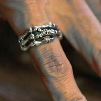 Finger Bone skull ring men sterling silver biker gothic skeleton anatomy punk