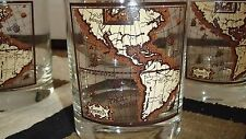 4 ROCKS DRINKING GLASSES WITH GLOBAL MAP DESIGN