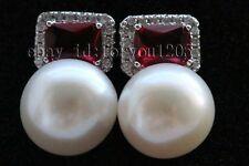 Genine Natural 12mm White Pearl Earrings Ruby #f2599!