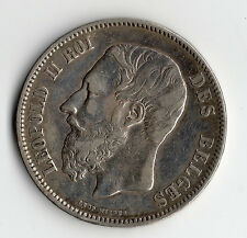 RARE ECU DE 5 FRANCS EN ARGENT DE BELGIQUE DE 1869 @ LEOPOLD II @ SILVER COINS !
