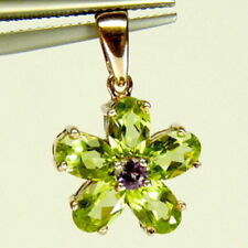 925 Sterling Silver Pendant Natural Peridot Amethyst Gemstones Jewelry Free Ship