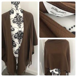 Vintage shawl pashmina St Michael Uk made M&S brown wrap