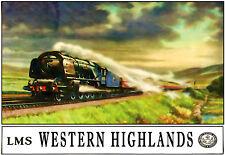 Arte cartel Western Highlands LMS impresión de anuncio de viaje de ferrocarril