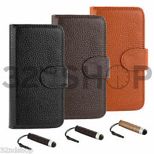 32nd Luxury flip wallet genuine leather case for Apple iPhone 4 4S 5 5S 5C