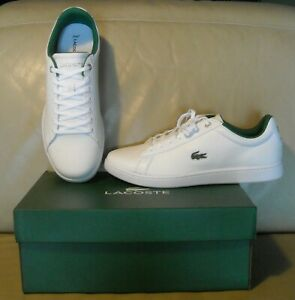 NWB Men's Lacoste Hydez 119 1 P SMA Leather Shoes Size 9.5 Color White / Green