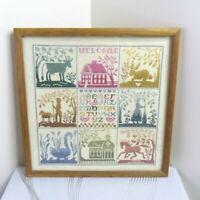 "Vintage Cross Stitch Needlepoint Framed 15"" Sampler Country Chic Homestead Art"