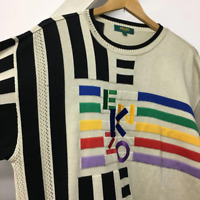 KENZO KNIT SWEATER PULLOVER GRAY MEN FASHION CASUAL BRAND JAPAN 4 LARGE COTTON
