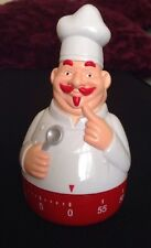 One Hour Novelty Shaped Kitchen Timer Clockwork Red White Chef Kitchenware