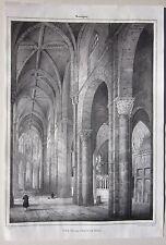 1838 SOUVIGNY Vue grande nef litografia Émile Sagot Allier Desrosiers Moulins