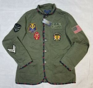 Polo Ralph Lauren High Neck Military Field Patch Jacket Mens Large Rare NWT $398