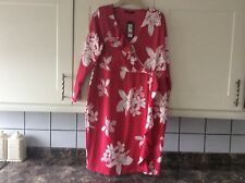 Ladies smart new size 18 pink /white mock wrap over stretchy dress from M&S