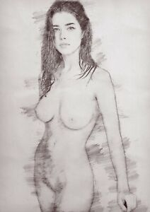 standing female nude Pencil drawing, print of artwork, unique gift