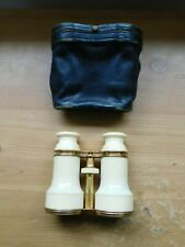 Vintage Binoculars In Case Made In White Faux Ivory Early Plastic