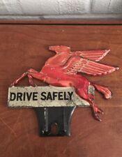 Vintage Original Mobil Pegasus Flying Horse Drive Safely License Plate Topper