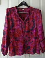 REBECCA TAYLOR 100% SILK FLORAL PURPLE WOMEN'S BLOUSE TOP US L