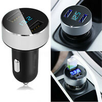 Car Charger USB Quick Charge Metal Dual Port Cigarette Lighter Voltage Adapter