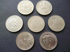 CROWN COINS SET OF SEVEN QE2 CROWNS DATED, 1953,1960,1965,1972,1977,1980, 1981.