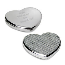 Personalised Silver Diamante Heart Compact Mirror - Engraved Free - Wedding, Her