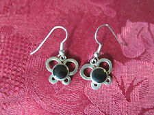 Silver Plated Black Onyx Butterfly Charm Wire Fashion Earring Pair