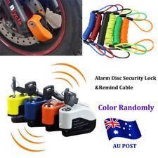 Alarm Disc Security Lock + Remind Cable Motorcycle Dirt Road Bike Brake Rotor ON