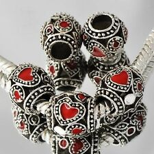 Charm 5pcs Tibetan Silver Heart Dark Red Enamel CZ Beads Fit European Bracelets